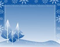 Winter-Baum-Schneeflocke-Rand 2 Lizenzfreie Stockfotografie