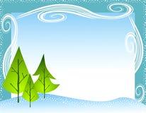 Winter-Baum-Schneeflocke-Rand Lizenzfreies Stockfoto
