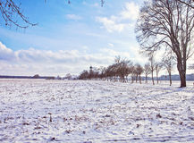 Winter Bavarian landscape covered by snow Royalty Free Stock Photos