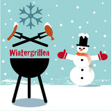 Winter bbq. Illustration, snowman invites to winter grilling royalty free illustration