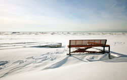 Winter at the beach. A winter view at the beach Royalty Free Stock Images