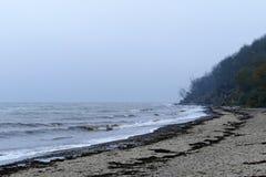 Winter beach, rough coast and waves, baltic sea Stock Photo