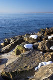 Winter beach scene. View of winter beach,Bulgaria Stock Photography