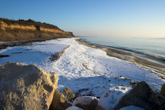Winter beach scene. View of winter beach,Bulgaria Royalty Free Stock Photos