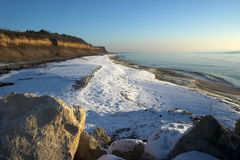 Winter beach scene. View of winter beach,Bulgaria Royalty Free Stock Photography