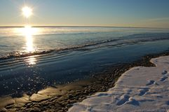 Winter Beach Sunrise Stock Image