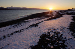 Winter Beach Sunset Royalty Free Stock Images