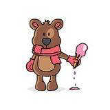 Winter bear holding ice cream Stock Image