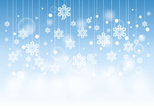 Winter Beautiful Background with Snow Flakes Hanging Pattern Stock Image