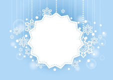 Winter Beautiful Background with Snow Flakes Hanging and White Space for Words. Winter Beautiful Light Blue Background with Snow Flakes Hanging and White Space Stock Image