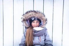Winter beautiful child portrait white background snowing colors during winter holidays stock photos