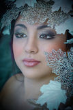 Winter beautiful girl with beauty  make-up & leaves Stock Photo