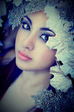 Winter beautiful girl with beauty  make-up & leaves Royalty Free Stock Photos