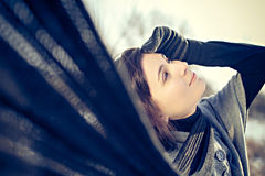 Winter beautiful girl with scarf Royalty Free Stock Images