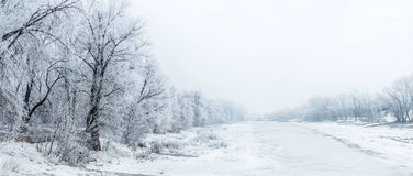 Winter beautiful landscape with trees covered with hoarfrost. Winter landscape with trees covered with frost and frozen lake, and fishermen engaged in fishing Stock Photography