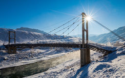 Winter. Beautiful old bridge. Sun Royalty Free Stock Photos