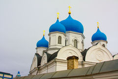 Winter.Beautiful Orthodox churches in Russia, with bright blue domes. Stock Photo