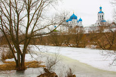 Winter.Beautiful Orthodox churches in Russia, with bright blue domes. Royalty Free Stock Images