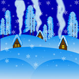 Winter beautiful rural landscape at night Royalty Free Stock Photography