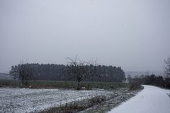 Winter landscapes of Bavaria. Winter, beautiful and snowy landscapes in Germany stock photos