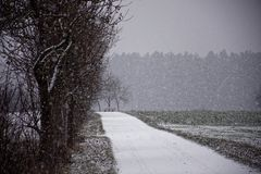Winter landscapes of Bavaria. Winter, beautiful and snowy landscapes in Germany royalty free stock image