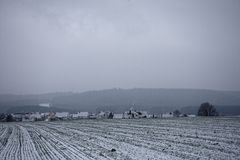 Winter landscapes of Bavaria. Winter, beautiful and snowy landscapes in Germany royalty free stock photo