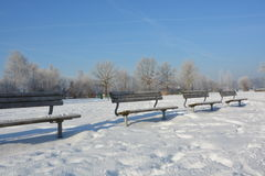 Winter. Beautiful winter in south Germany close to the alps. Frozen Landscape with sunny weather and blue sky Royalty Free Stock Photos