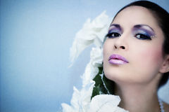 Winter beautiful woman with beauty  make-up & flower. On blue background Stock Image
