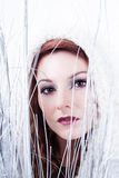 Winter Beautiful Woman in White Royalty Free Stock Image