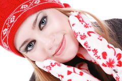 Winter beauty. Beautiful young girl with smoky eyes in winter clothes Royalty Free Stock Photography