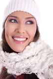 Winter beauty. Beautiful woman wearing winter scarf and hat royalty free stock images