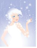 Winter Beauty Face of Woman. An illustration of the face of a woman blended into a snowflake and floral background in soft light blue tones Royalty Free Stock Image