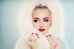 Winter Beauty. Fashion Portrait of Cute Winter Woman with Makeup Royalty Free Stock Images