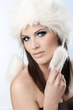 Winter beauty in fur cap Stock Image