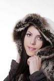 Winter beauty in fur coat Stock Photography