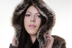 Winter beauty in fur coat Stock Image