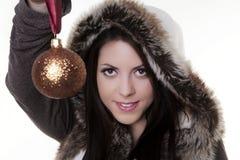 Winter beauty in fur coat Royalty Free Stock Photo