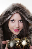 Winter beauty in fur coat Royalty Free Stock Photography