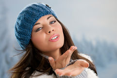 Winter beauty kissing Royalty Free Stock Photo