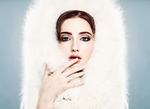 Winter Beauty. Pretty Winter Woman with Makeup. Face Closeup Stock Image