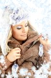 Winter beauty with snowflakes Stock Image
