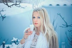 Winter Beauty Woman. Beautiful fashion model girl with glass flasks hairstyle and make-up in winter laboratory. Festive makeup and. Manicure. Winter Queen with stock image