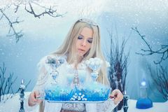 Winter Beauty Woman. Beautiful fashion model girl with glass flasks hairstyle and make-up in winter laboratory. Festive makeup and. Manicure. Winter Queen with stock photography