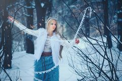 Winter Beauty Woman. Beautiful fashion model girl with snow hairstyle and makeup in the winter forest. Festive makeup and manicure. Winter Queen with snow and royalty free stock photo