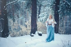 Winter Beauty Woman. Beautiful fashion model girl with snow hairstyle and makeup in the winter forest. Festive makeup and manicure. Winter Queen with snow and stock photography