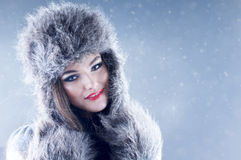 Winter beauty woman in a fur hat and mittens. Royalty Free Stock Image