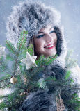 Winter beauty woman in a fur hat. Stock Image