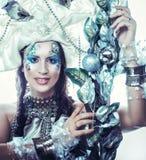Winter beauty woman. Holiday makeup. Stock Image