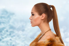 Winter beauty young woman portrait. Profile of a beautiful girl with long hair in a fur coat Stock Photography