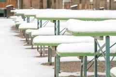 Winter beer garden Stock Photo